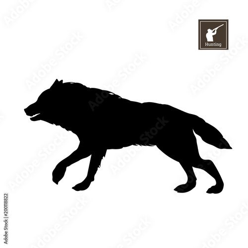 Black Silhouette Of Running Wolf On White Background Forest Animals