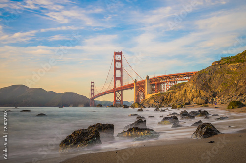 Keuken foto achterwand San Francisco Long exposure when the sun goes down to the Golden Gate Bridge of San Francisco
