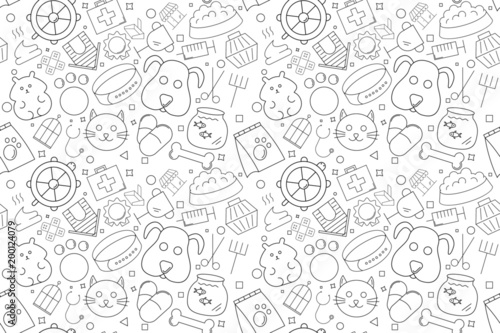 Vector pet pattern. Pet seamless background Canvas-taulu