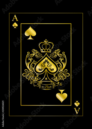 the spades ace gold Canvas Print
