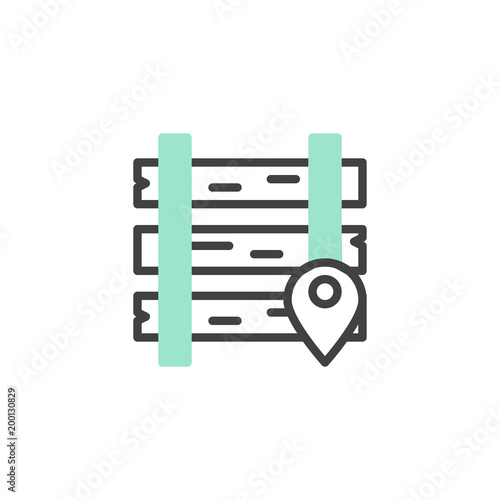 Railway location icon vector, linear flat sign, bicolor