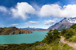 canvas print picture Trekking in Torres del Paine Nation Park, Patagonia, Chile