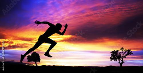 Poster Glisse hiver hombre corriendo por el campo