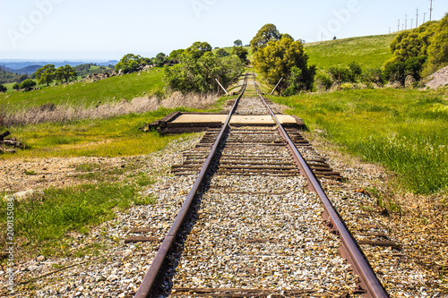 Railroad Railroad Tracks Disappearing In Country Hillside