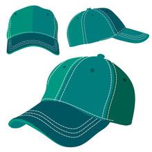 Emerald Green Cap On White Background. Vector Illustration Eps10 File