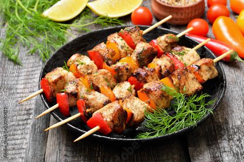 Chicken kebab on bamboo skewers