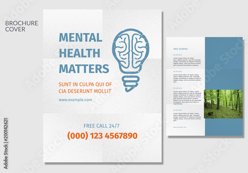 mental health brochure layout with brain light bulb element - Free Mental Health Brochure Templates