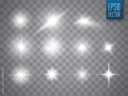 Fototapeta Lights sparkles collection. Vector illustration of glowing lens flares, flashes and sparks. obraz na płótnie