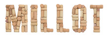 Grape Variety Millot Made Of Wine Corks Isolated On White Background