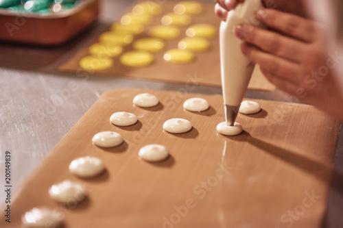 Foto auf AluDibond Macarons Process of making macaron macaroon , french dessert,