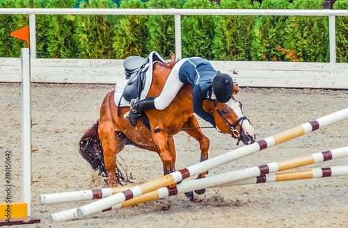 Young rider falling from horse during a competition. Horse show jumping accident. Equestrian sport background.
