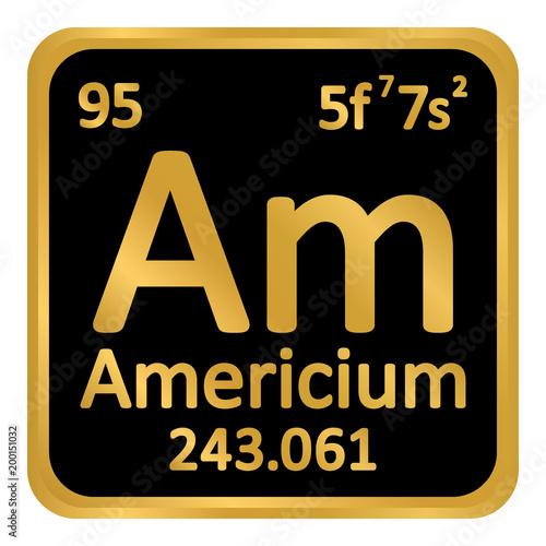 Periodic table element americium icon. Canvas Print