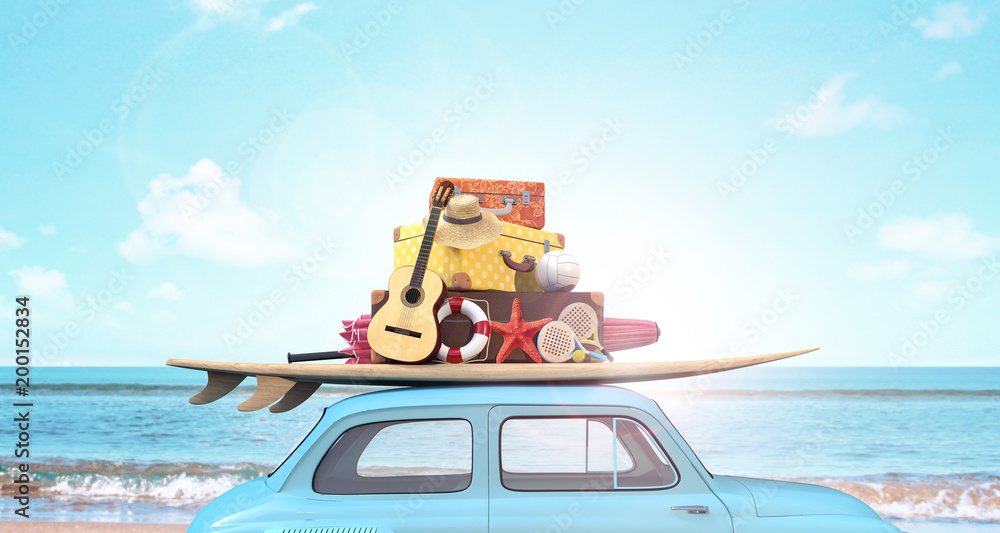 Fototapety, obrazy: Car with luggage on the roof ready for summer vacation 3D Rendering