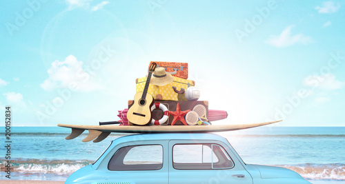 Photo  Car with luggage on the roof ready for summer vacation 3D Rendering