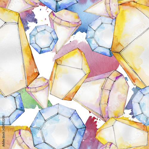 Fototapety, obrazy: Colorful diamond rock jewelry mineral.  Geometric quartz polygon crystal stone mosaic shape amethyst gem.