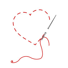 A Vector Illustration Of Stisched Heart, Needle With Thread. Embroidery Stylization With Stitches. Background For Valentines Day, Marriage.