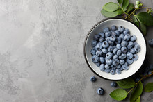 Fresh Ripe Blueberries With Le...