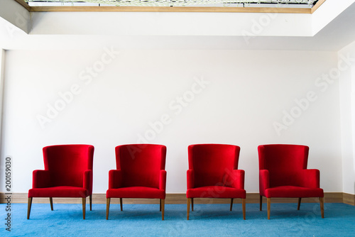 Wondrous Group Of Red Chair In White Wall Interior With Blue Wood Pabps2019 Chair Design Images Pabps2019Com