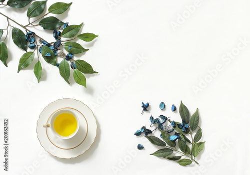 Mockup of healthy lifestyle with green tea