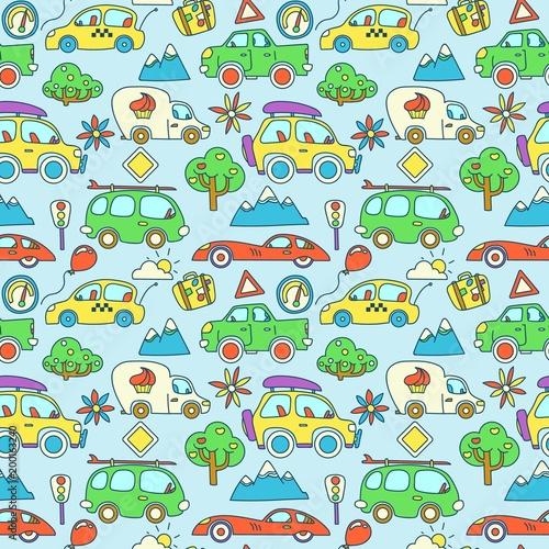 bezszwowe-wektor-wzor-kolor-kreskowka-samochody-stylizowane-dla-dzieci