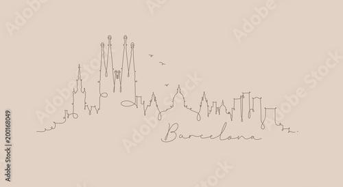 Fototapeta premium Sylwetka linii pióra barcelona beż