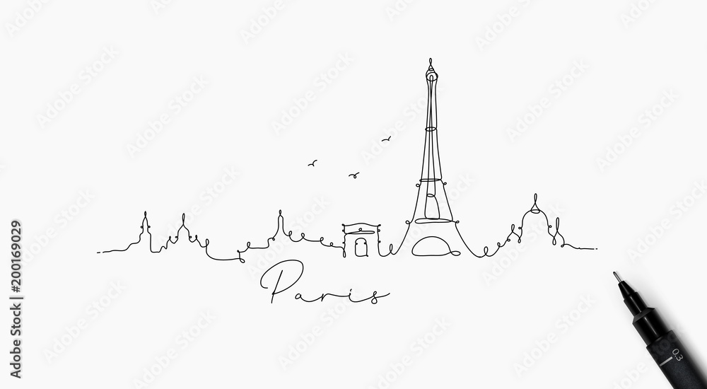 Fototapeta Pen line silhouette paris