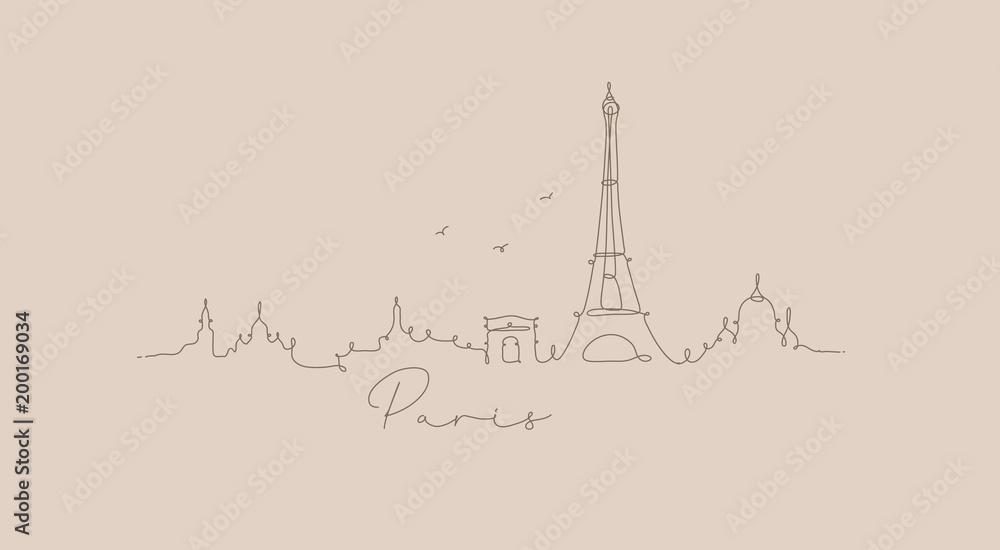 Fototapeta Pen line silhouette paris beige