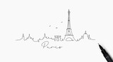 Fototapeta Paryż - Pen line silhouette paris