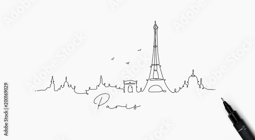 Pen line silhouette paris Canvas Print