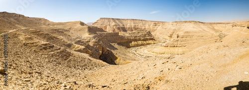 Fotobehang Midden Oosten Desert deep canyon cliffs scenic landscape view panorama.