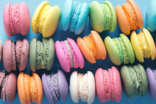 Poster Macarons Colorful macarons cakes with close up shot.