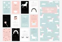 Calendar 2019 With Cute Unicor...