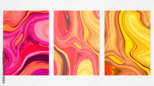 Backgrounds with marbling. Marble texture. Bright paint splash. Colorful fluid. It can be used for poster, card, brochure, invitation, cover book, catalog, banner. Size A4. Vector illustration eps10