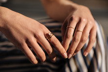 Crop Woman Hands With Rings On...