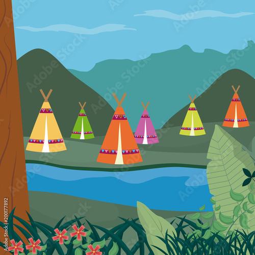 Printed kitchen splashbacks Indians Tents in forest