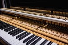 Close-up Of Old Piano Keyboard