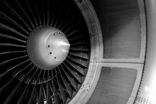 Blades Of An Aircraft Engine Close-up. Travel And Aerospace Concept. Black And White Filter