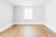Blank Simple Interior Room Background Empty White Walls Corner And White Wood Floor Contemporary,3D Rendering