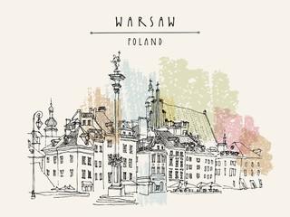 FototapetaCastle Square in Warsaw. King Sigismund's Column (Kolumna Zygmunta), St. John's Archicathedral. Vintage travel hand drawn postcard