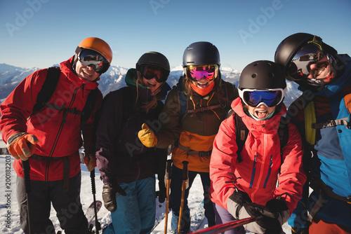 Group of skiers having fun in ski resort