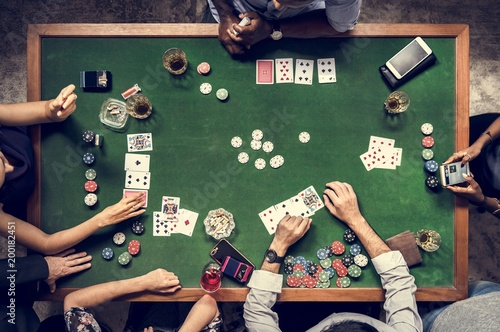 Aerial of people playing gamble in casino плакат