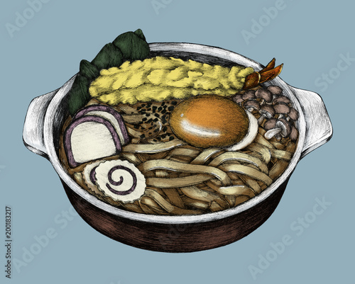 Photo  Hand drawn udon Japanese cuisine