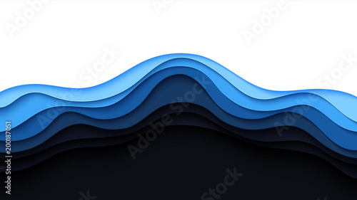 Fotografia, Obraz  Blue abstract paper wave layer cut background