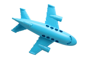 blue plastic toy plane isolated on white background