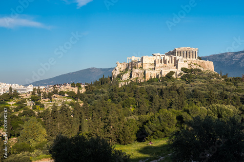 Foto op Aluminium Oude gebouw The Parthenon Temple at the Acropolis of Athens during colorful sunset, Greece