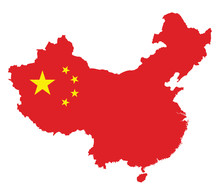 China Map Flag On A White Background