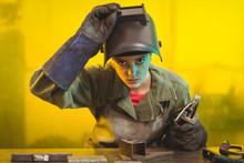 Portrait Of Female Welder Work...