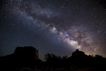 Milky Way Over Bell Rock And Courthouse Butte - Near Sedona, Arizona