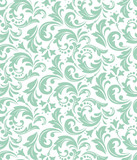 Wallpaper in the style of Baroque. A seamless vector background. White and blue floral ornament. Graphic vector pattern