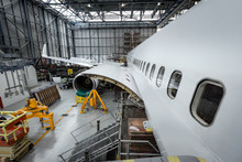 Aircraft For Servicing At Airlines Maintenance Facility